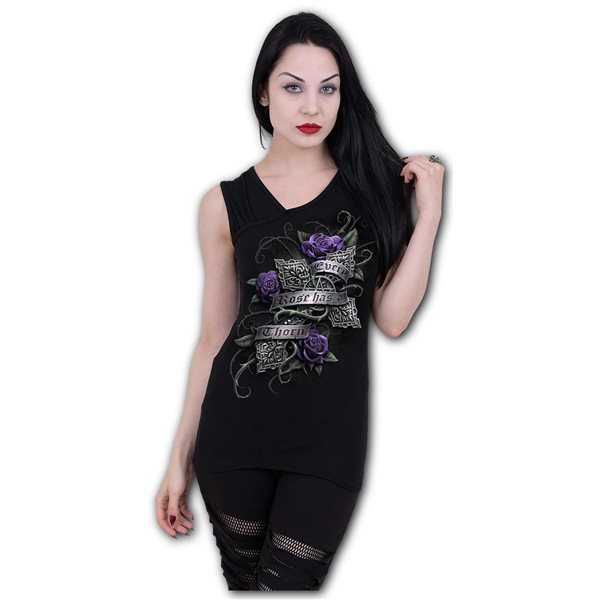 Every Rose - Gathered Shoulder Slant Vest Black