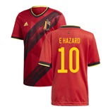 2020-2021 Belgium Home Adidas Football Shirt (E HAZARD 10)