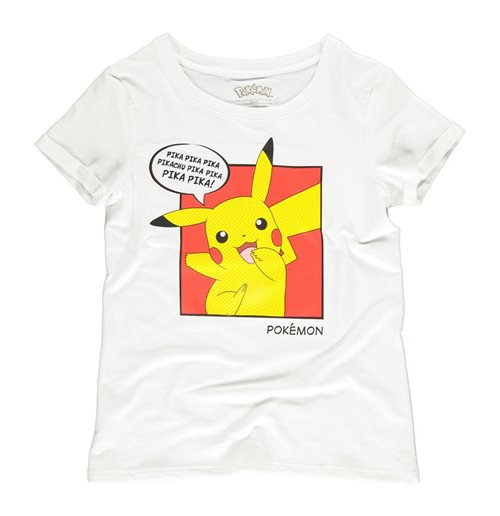 POKEMON Pika Pika Pika PopArt T-Shirt, Female, Medium, White
