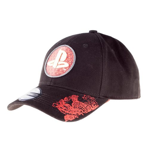 SONY Playstation Biker Japanese Logo Bow Cap, Unisex, Black