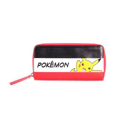 POKEMON Pikachu Striped Tri-colour Zip-Around Wallet Purse, Female, Multi-colour