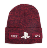 SONY Playstation Biker Logo Roll-up Beanie, Unisex, Red