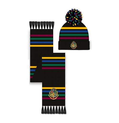 HARRY POTTER Hogwarts Crest Pom Pom Beanie & Scarf Set, Unisex, Multi-colour