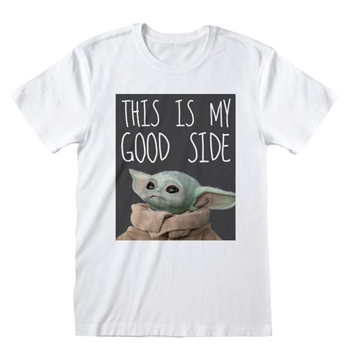 STAR WARS The Mandalorian This is My Good Side T-Shirt, Unisex, Large, White