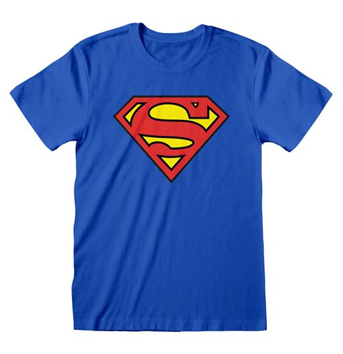 DC COMICS Superman Logo T-Shirt, Unisex, Large, Blue