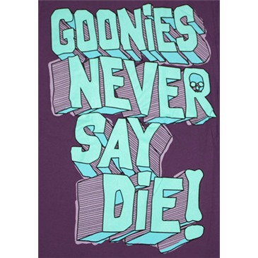 The Goonies Never Say Die Purple Juniors Graphic T Shirt