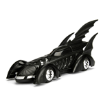 DC COMICS Batman 1995 Forever Movie Batmobile Metals Die-cast Toy Car with Batman Die-cast Figure, Unisex, 1:24 Scale, 8 Years or Above, Black