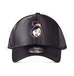 DISNEY Mulan Face Patch Curved Bill Cap, Unisex, Black