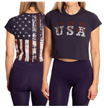 USA Faded Flag Women's Crop Top