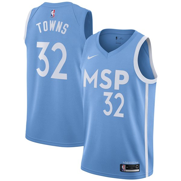 Men's Minnesota Timberwolves Karl-Anthony Towns Nike Blue City Edition Swingman Jersey
