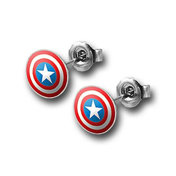 Captain America 316L Surgical Steel 18G Stud Earrings