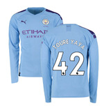 2019-2020 Manchester City Puma Home Long Sleeve Shirt (TOURE YAYA 42)
