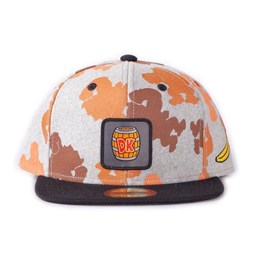 NINTENDO Donkey Kong Colour Silhouette All-Over Print with Logo Badge Snapback Baseball Cap, Unisex, Grey/Black