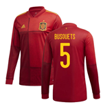 2020-2021 Spain Home Adidas Long Sleeve Shirt (BUSQUETS 5)