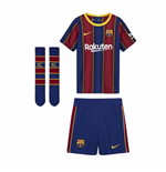 2020-2021 Barcelona Home Nike Little Boys Mini Kit