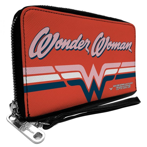 Wonder Woman Script Logo Zip Around Wallet