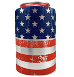 American Flag Metallic Finish Can Cooler