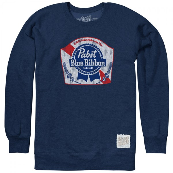 Pabst Blue Ribbon Beer Blue Fleece Crewneck Sweatshirt