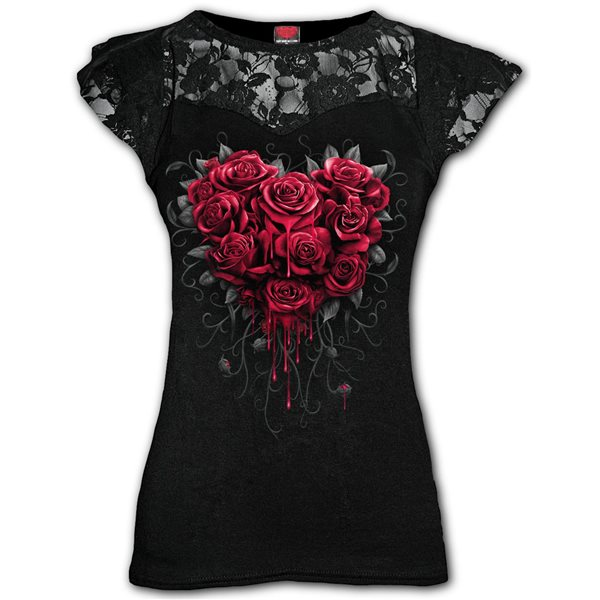Bleeding Heart - Lace Layered Cap Sleeve Top Black