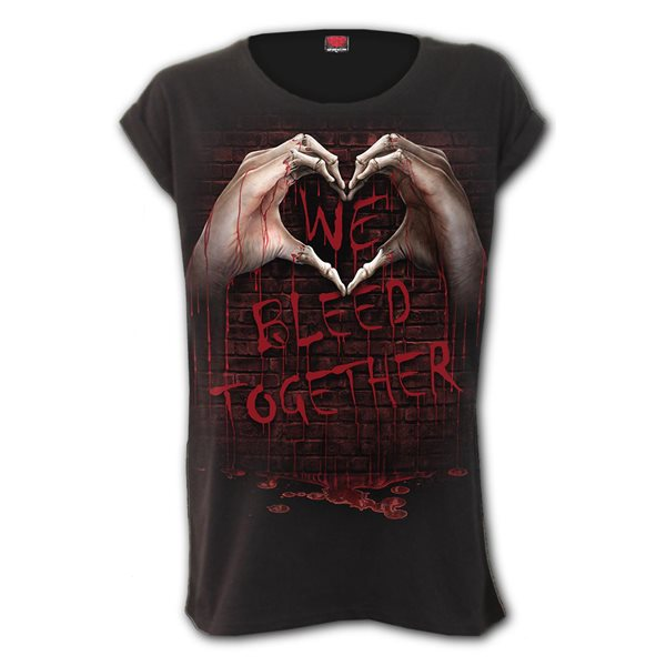 We Bleed Together - Turnup Sleeve Loosefit Tee (Plain)