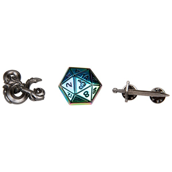 Dungeons  and  Dragons Logo D20 Sword Set of 3 Lapel Pins