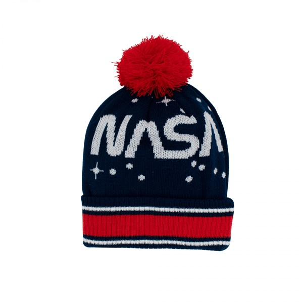 NASA Patch and Stars Knit Cuff Pom Beanie