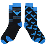 Nightwing Symbols and All Over Print Crew Socks 2-Pair Pack