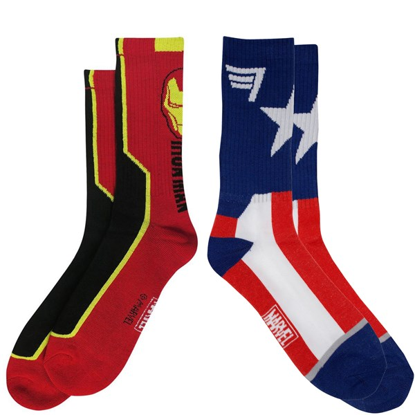 Captain America and Iron Man 2-Pair Pack of Crew Socks