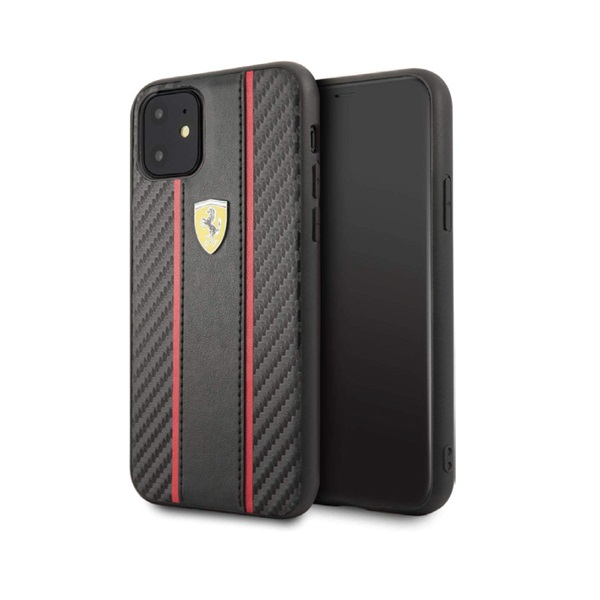 Hard CASE- Carbon Pu With A Matte Pu Vertical STRIPE- On Track LOGO- Black