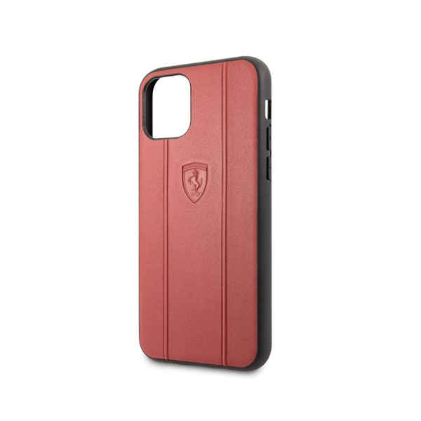 Ferrari Off Track Hot Stamped Logo Case With Embossed LINES- Red