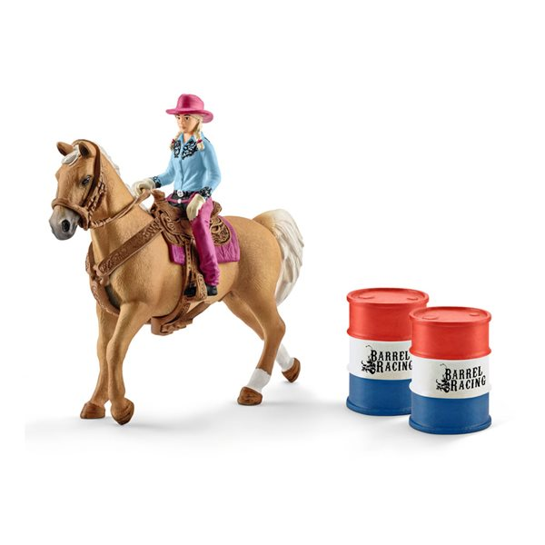SCHLEICH Farm World Barrel Racing with Cowgirl Toy Playset, Multi-colour, 3 to 8 Years
