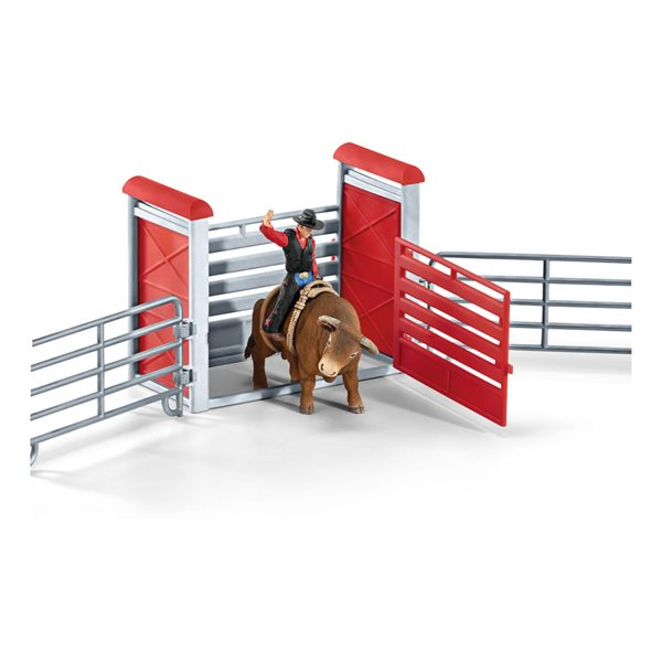 SCHLEICH Farm World Bull Riding with Cowboy Toy Playset, Multi-colour, 3 to 8 Years