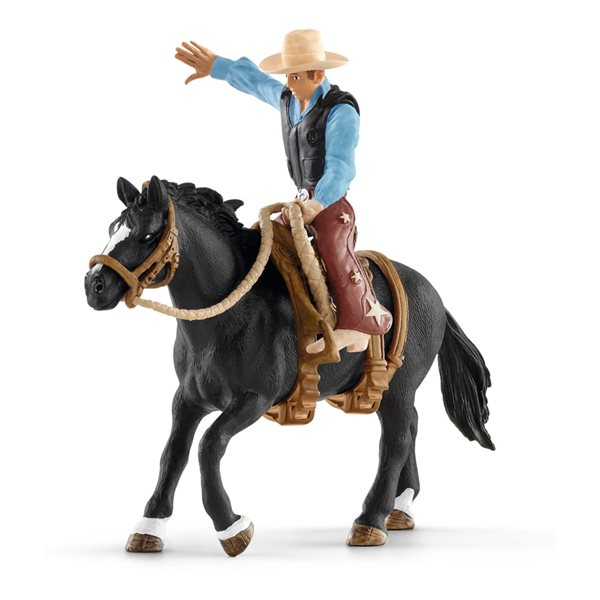 SCHLEICH Farm World Saddle Bronc Riding with Cowboy Toy Figure Set, Multi-colour, 3 to 8 Years