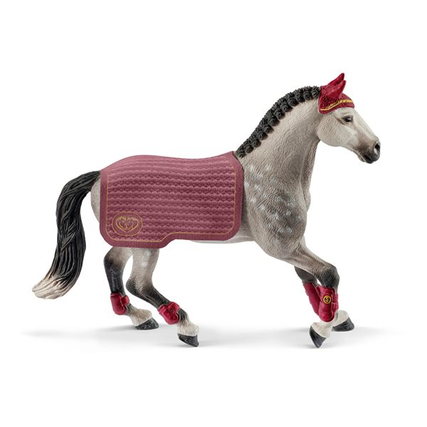 SCHLEICH Horse Club Trakehner Mare Riding Tournament Toy Figure, Grey, 5 to 12 Years