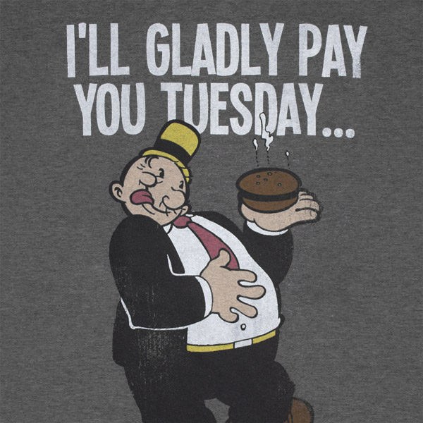 Popeye Wimpy Pay You Tuesday Hamburger Tshirt For Only 163
