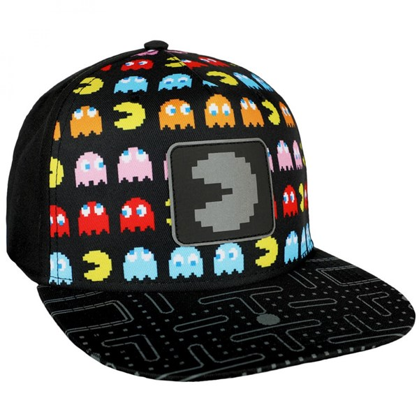 Pac-Man Nintendo All Over Front with Reflective Patch Snapback Hat