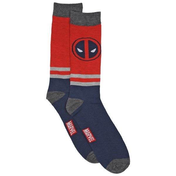 Deadpool Logos  and  Stripes 2-Pair Pack of Casual Crew Socks