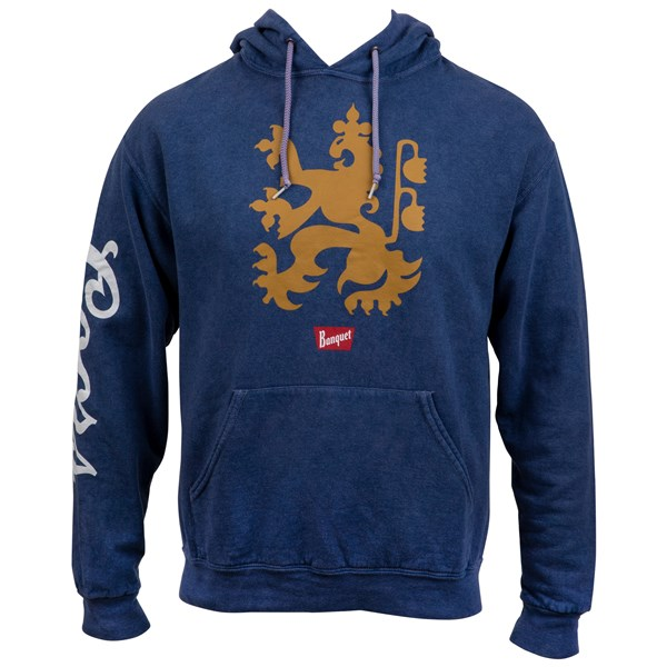 Coors Banquet Lion Logo Heather Blue Hoodie