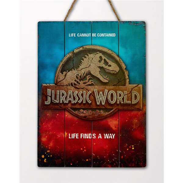 Jurassic World Logo Wooden Poster