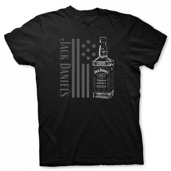 Jack Daniel's Tennessee Whiskey Bottle and Flag T-Shirt