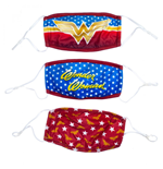 Wonder Woman Symbols 3-Pack of Reusable Adjustable Face Covers