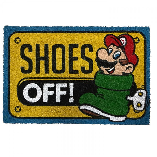 Nintendo Super Mario Shoes Off! 17x 29 Doormat with Non-skid Back