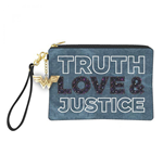 Wonder Woman Truth Love  and  Justice Denim Clutch