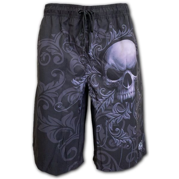 Skull Scroll - Allover Swim Shorts Black