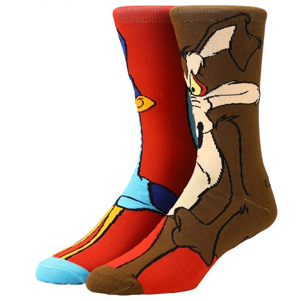 Looney Tunes Coyote  and  Roadrunner 360 Character Crew Socks