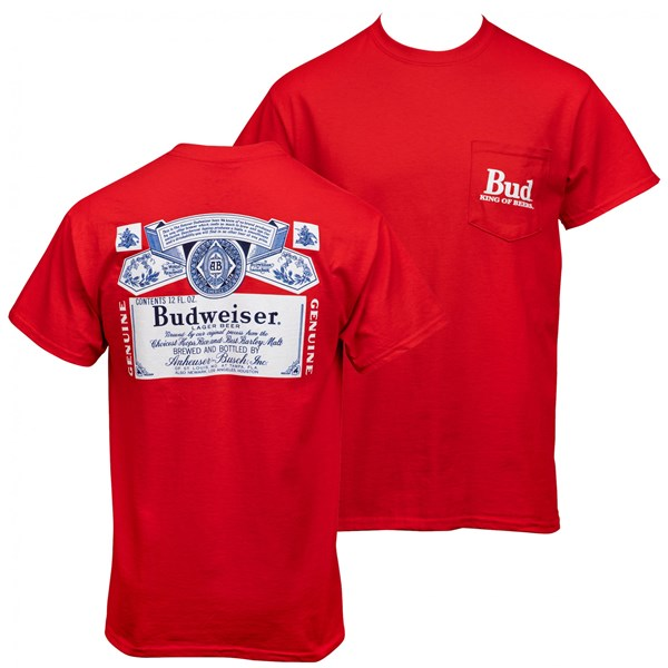 Budweiser Bottle Label Front and Back Print Pocket Tee