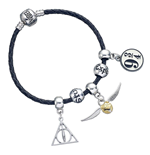Harry Potter Leather Bracelet Charm Set Deathly Hallows/Snitch/Platform 9 3/4/2 Spellbeads