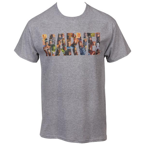 Marvel Comics Text Brand Made Up of Heroes T-Shirt