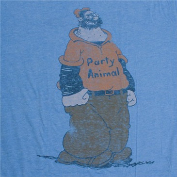 POPEYE Brutus Party Animal Retro Junk Food Blue Graphic Tee Shirt