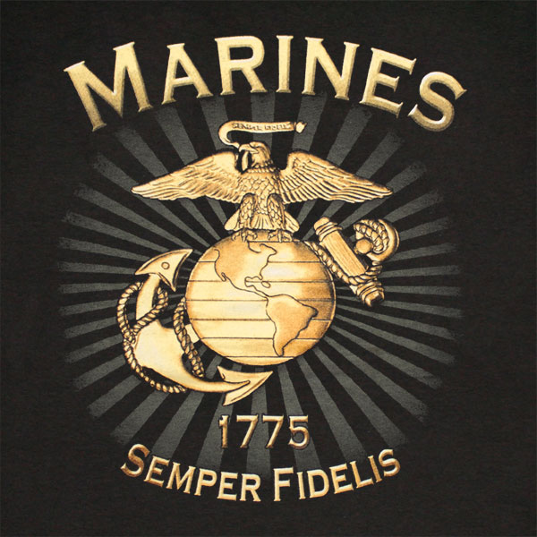 Us Marines Brass Logo Semper Fidelis Patriotic T Shirt For